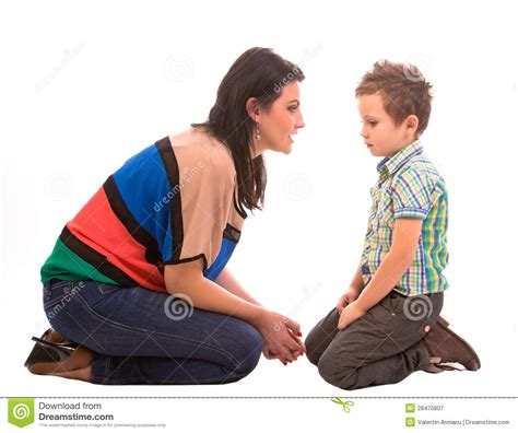 Mother And Son Conversation Stock Image - Image of home