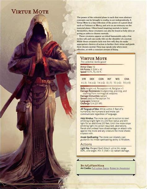 The Virtue Mote, a [Homebrew] Celestial Familiar (With